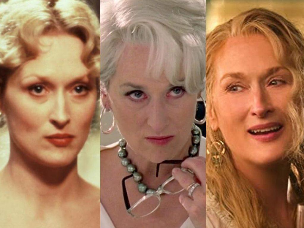 three Meryl Streep portraits side by side